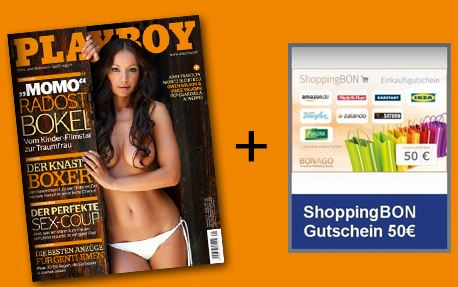 Playboy mit Shoppingbon