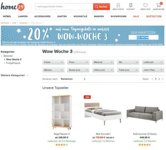 home24 20 auf angebote der wow woche. Black Bedroom Furniture Sets. Home Design Ideas