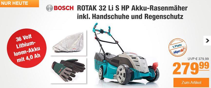 bosch rotak 32 li s hp akku rasenm her inkl handschuhe und regenschutz f r 251 99. Black Bedroom Furniture Sets. Home Design Ideas