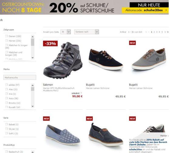 : 20% Osterrabatt auf Schuhe & Sportschuhe |